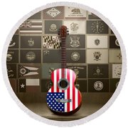 All State Flags - Retro Style Round Beach Towel