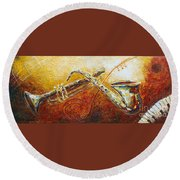 All That Jazz Round Beach Towel by Phyllis Howard