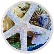 All The Colors Of The Sea Round Beach Towel