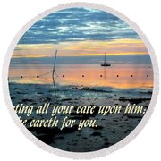 All Your Cares Round Beach Towel