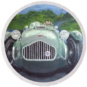 Round Beach Towel featuring the painting Allard J2x by Anna Ruzsan