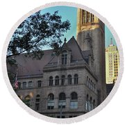 Round Beach Towel featuring the photograph Allegheny County Courthouse by Steven Richman