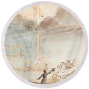Allegory   Knowledge Versus Orthodox Religion Round Beach Towel by Auguste Hervieu