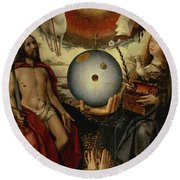 Allegory Of Christianity Oil On Panel Round Beach Towel