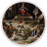 Allegory Of The Abdication Of Emperor Charles V In Brussels, C.1630-1640, By Frans Francken Round Beach Towel