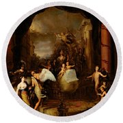 Allegory Of The City Of Amsterdam Round Beach Towel