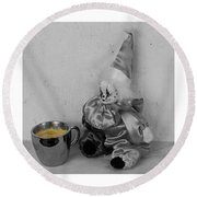 Allegory Of The Coffee Drinker By William Patrick Round Beach Towel