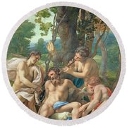 Allegory Of The Vices Round Beach Towel