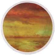 Round Beach Towel featuring the painting Allegro by Mary Wolf
