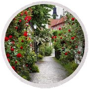 Alley Of Roses Round Beach Towel