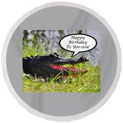 Alligator Birthday Card Round Beach Towel