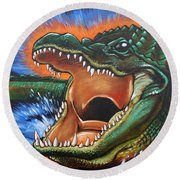 Alligator Round Beach Towel
