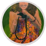 Round Beach Towel featuring the painting Allison by Donald J Ryker III