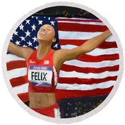 Allison Felix Olympian Gold Metalist Round Beach Towel