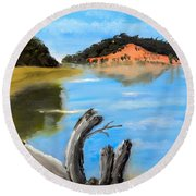 Round Beach Towel featuring the painting Allonah Beach Tasmania by Pamela  Meredith
