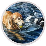 Ally And Smitty Round Beach Towel by Eileen Patten Oliver