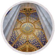 Almudena Cathedral Interior Round Beach Towel