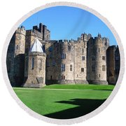 Round Beach Towel featuring the photograph Alnwick Castle Castle Alnwick Northumberland by Paul Fearn