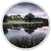 Alnwick Castle Sunset Round Beach Towel by Dave Bowman
