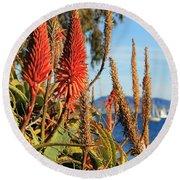 Aloe Vera Bloom Round Beach Towel by Mariola Bitner