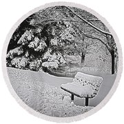 Round Beach Towel featuring the photograph Alone In The Park.... by Deborah Klubertanz