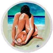Round Beach Towel featuring the painting Alone With My Thoughts by Jackie Carpenter