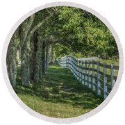Round Beach Towel featuring the photograph Along A Country Road by Jane Luxton