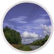 Along A Mountain Road Round Beach Towel