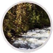 Along American River Round Beach Towel