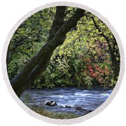 Along Swift Waters Round Beach Towel by Priscilla Burgers