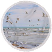 Along The Beach Round Beach Towel