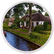 Along The Canal. Giethoorn. Netherland Round Beach Towel
