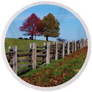 Along The Fence Round Beach Towel by Eric Liller