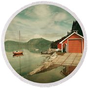 Along The Fjord Round Beach Towel