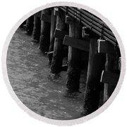 Along The Pier Round Beach Towel by Barbara Bardzik
