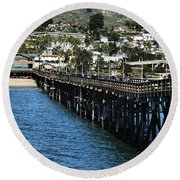 Round Beach Towel featuring the photograph Along The Pier by Michael Gordon