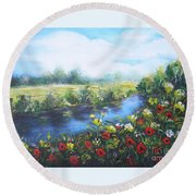 Round Beach Towel featuring the painting Along The Poppy Valley by Vesna Martinjak