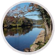 Along The River In Shelbourne Falls Round Beach Towel