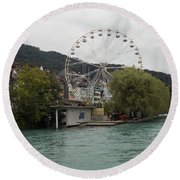 Along The River In Thun Round Beach Towel