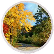 Round Beach Towel featuring the photograph Along The Road 2 by Kathryn Meyer