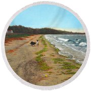 Along The Shore In Hyde Hole Beach Rhode Island Round Beach Towel