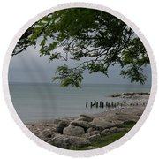 Round Beach Towel featuring the photograph Along The Shore by Kay Novy