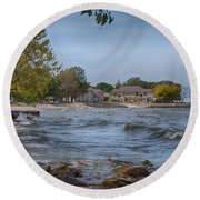 Round Beach Towel featuring the photograph Along The Shores Of Marblehead by John M Bailey