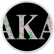 Alpha Kappa Alpha - Black Round Beach Towel
