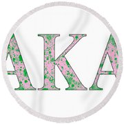 Alpha Kappa Alpha - White Round Beach Towel by Stephen Younts