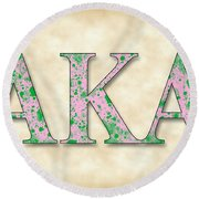 Alpha Kappa Alpha - Parchment Round Beach Towel by Stephen Younts