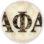 Alpha Phi Alpha - Parchment Round Beach Towel by Stephen Younts
