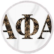 Alpha Phi Alpha - White Round Beach Towel by Stephen Younts