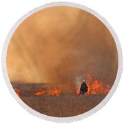 Alpine Hotshots Ignite The Norbeck Prescribed Fire. Round Beach Towel
