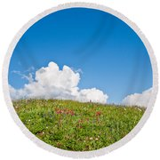 Alpine Meadow And Cloud Formation Round Beach Towel